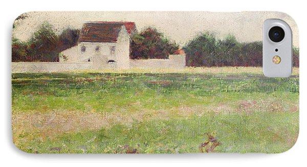 Landscape In The Ile De France IPhone Case by Georges Pierre Seurat