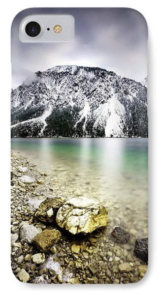 Landscape Of Plansee Lake And Alps Mountains During Winter, Snowy View, Tyrol, Austria. IPhone Case