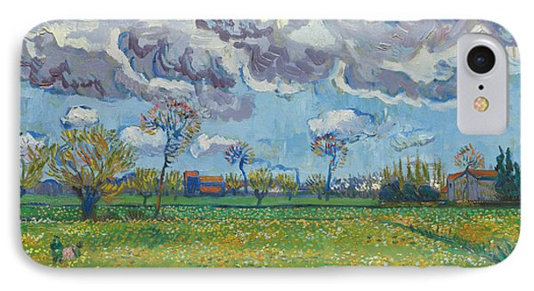 Landscape Under A Turbulent Sky IPhone Case by Vincent van Gogh