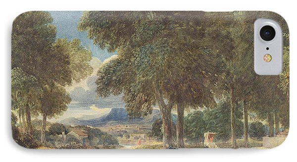 Landscape With A Man Washing His Feet At A Fountain IPhone Case by David Cox