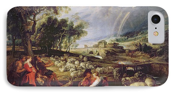 Landscape With A Rainbow Phone Case by Rubens