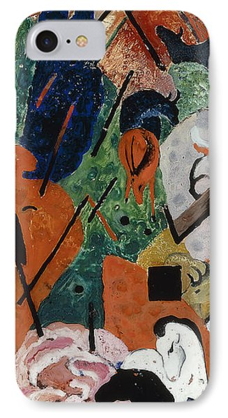 Landscape With Animals And Rainbow IPhone Case by Franz Marc