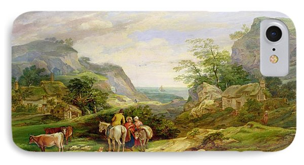 Landscape With Figures And Cattle IPhone Case by James Leakey