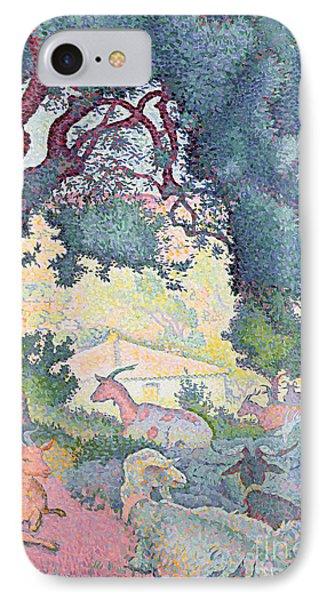 Landscape With Goats Phone Case by Henri-Edmond Cross