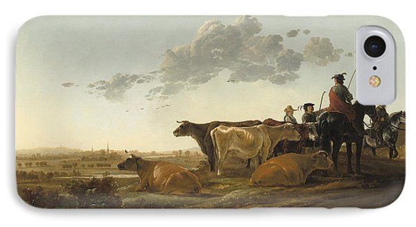Landscape With Herdsmen IPhone Case by Aelbert Cuyp