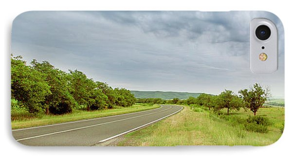 Landscape With Highway And Cloudy Sky IPhone Case