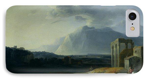 Landscape With Mount Stromboli Phone Case by Willem Schellinks