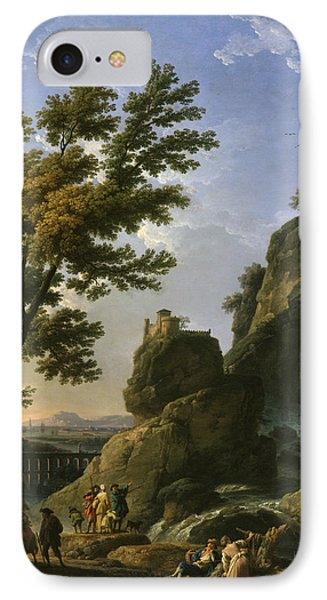 Landscape With Waterfall And Figures IPhone Case by Claude-Joseph Vernet