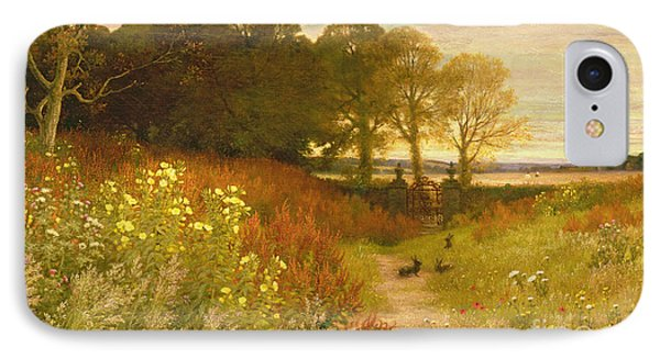 Rural Scenes iPhone 7 Case - Landscape With Wild Flowers And Rabbits by Robert Collinson