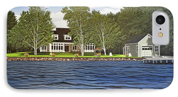 IPhone Case featuring the painting Langer Summer Home Lake Simcoe by Kenneth M Kirsch