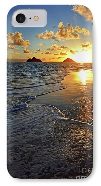 IPhone Case featuring the photograph Lanikai Beach Sunrise Foamy Waves by Aloha Art