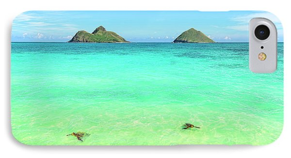 Lanikai Beach Two Sea Turtles And Two Mokes IPhone Case by Aloha Art