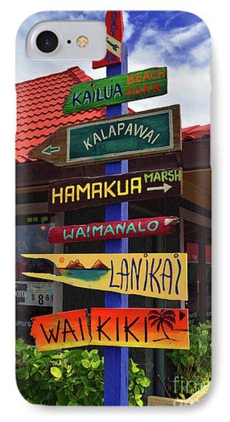 Lanikai Kailua Waikiki Beach Signs IPhone Case by Aloha Art