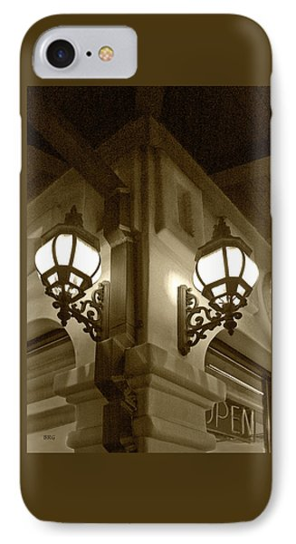 IPhone Case featuring the photograph Lanterns - Night In The City - In Sepia by Ben and Raisa Gertsberg