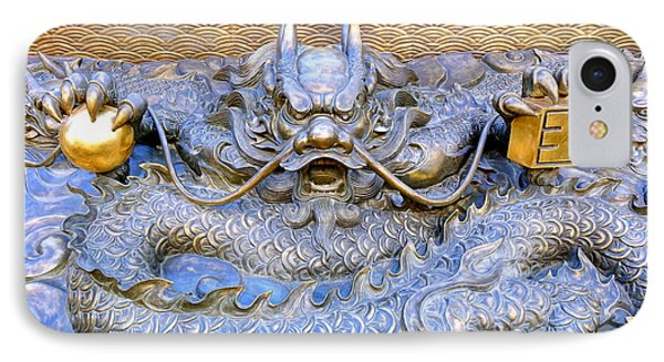 IPhone Case featuring the photograph Large Bronze Sculpture Of A Dragon by Yali Shi