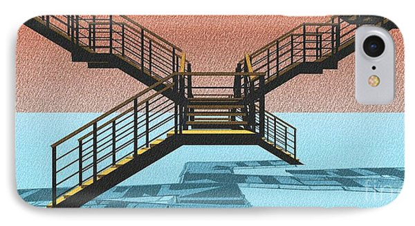 Large Stair 38 On Cyan And Strange Red Background Abstract Arhitecture IPhone Case by Pablo Franchi