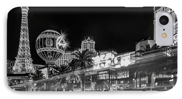 Las Vegas Strip Light Show Bw IPhone Case by Susan Candelario