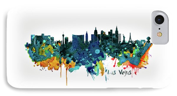Las Vegas Watercolor Skyline IPhone Case by Marian Voicu