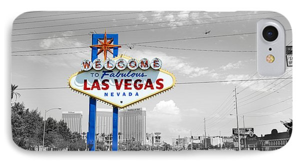 IPhone Case featuring the photograph Las Vegas Welcome Sign Color Splash Black And White by Shawn O'Brien