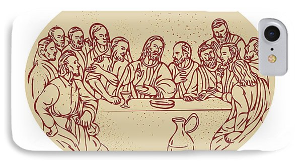 Last Supper Jesus Apostles Drawing IPhone Case by Aloysius Patrimonio