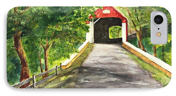 Late Afternoon At Knechts Covered Bridge   IPhone Case
