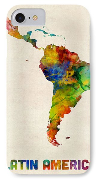 South America iPhone 7 Case - Latin America Watercolor Map by Michael Tompsett