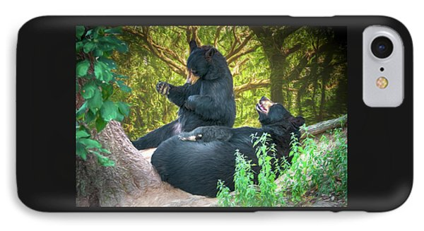 IPhone Case featuring the painting Laughing Bears by John Haldane