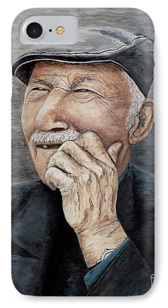 IPhone Case featuring the painting Laughing Old Man by Judy Kirouac