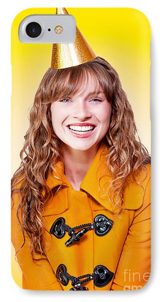 Laughing Winter Party Girl On Yellow Background IPhone Case by Jorgo Photography - Wall Art Gallery