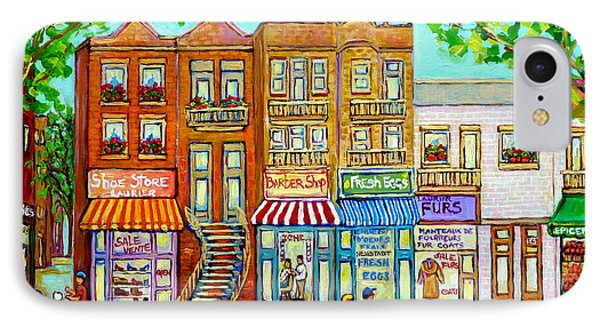 Laurier Street Circa 1960 Montreal Memories Vintage Store Fronts Apartments Family Life Canadian Art IPhone Case by Carole Spandau