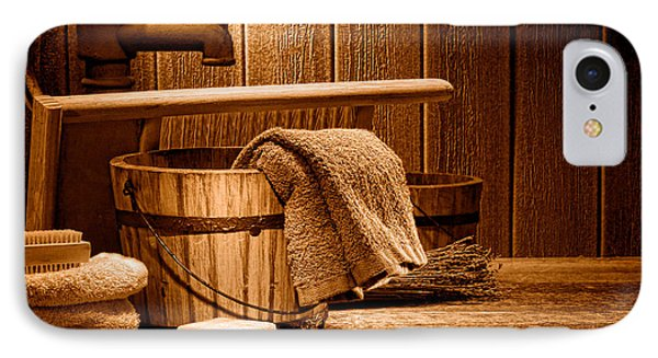 Laundry At The Ranch - Sepia IPhone Case by Olivier Le Queinec