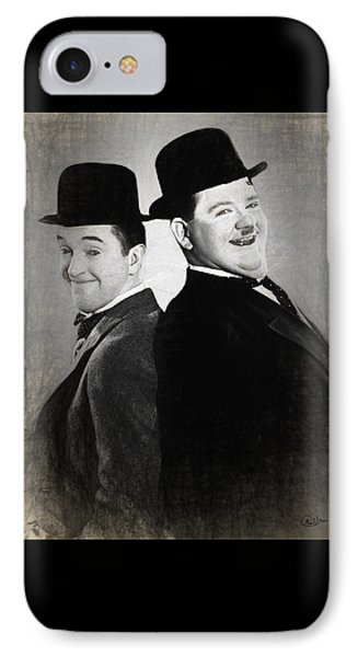 Laurel And Hardy Draw IPhone Case by Quim Abella