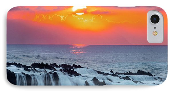 Lava Rock And Vog Sunset IPhone Case by Sean Davey