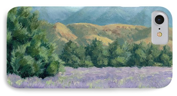 IPhone Case featuring the painting Lavender, Blue And Gold by Sandy Fisher