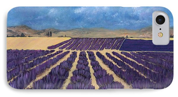 IPhone Case featuring the painting Lavender Field by Anastasiya Malakhova