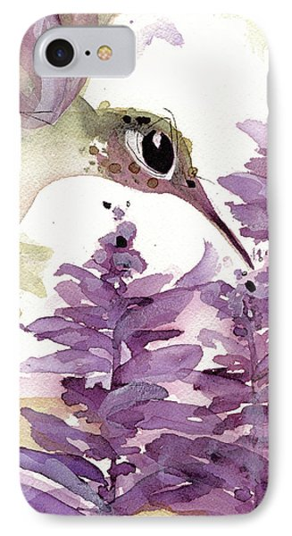 IPhone Case featuring the painting Lavender Hummer by Dawn Derman