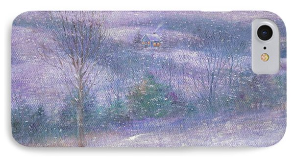 IPhone Case featuring the painting Lavender Impressionist Snowscape by Judith Cheng