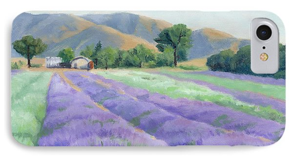 IPhone Case featuring the painting Lavender Lines by Sandy Fisher