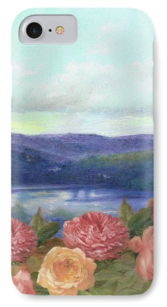 IPhone Case featuring the painting Lavender Morning With Roses by Judith Cheng