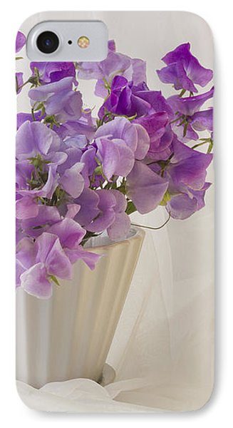 Lavender Sweet Peas And Chiffon Phone Case by Sandra Foster