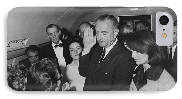 Lbj Taking The Oath On Air Force One IPhone Case by War Is Hell Store