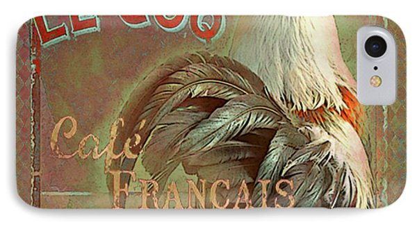 IPhone Case featuring the digital art Le Coq - Cafe Francais by Jeff Burgess