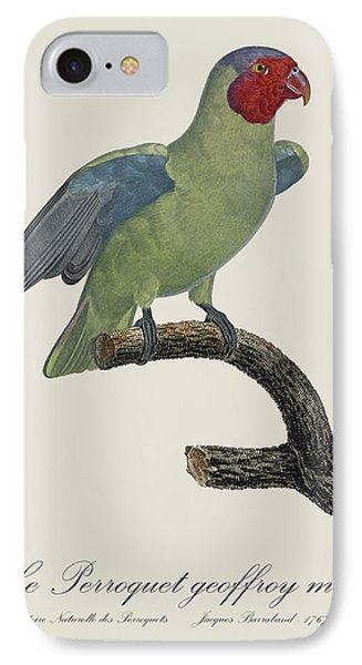 Le Perroquet Geoffroy Male / Red Cheeked Parrot - Restored 19th C. By Barraband IPhone Case by Jose Elias - Sofia Pereira