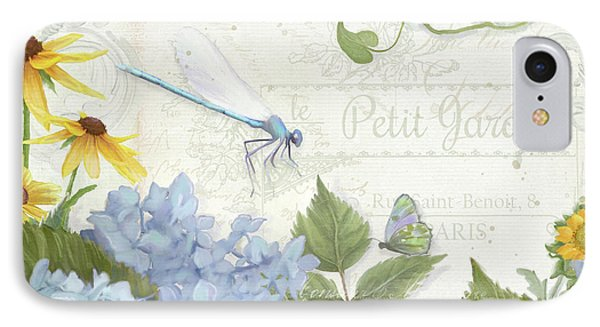 Le Petit Jardin 2 - Garden Floral W Dragonfly, Butterfly, Daisies And Blue Hydrangeas IPhone Case by Audrey Jeanne Roberts