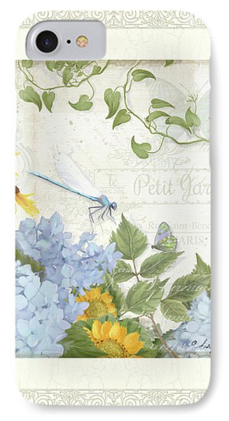 Le Petit Jardin 2 - Garden Floral W Dragonfly, Butterfly, Daisies And Blue Hydrangeas W Border IPhone Case by Audrey Jeanne Roberts