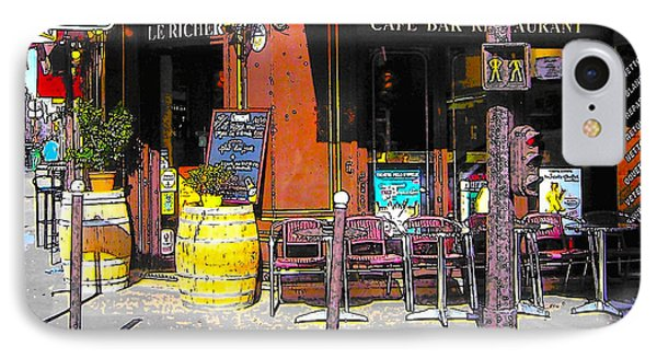 Le Richer Cafe Bar In Paris IPhone Case by Jan Matson