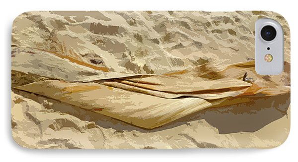 IPhone Case featuring the digital art Leaf In The Sand by Francesca Mackenney
