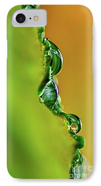 Leaf Profile And Water Droplets Phone Case by Kaye Menner