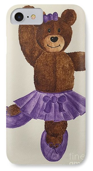 IPhone Case featuring the painting Leah's Ballerina Bear 1 by Tamir Barkan