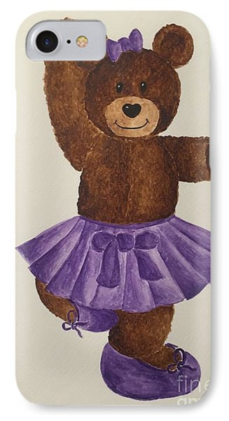 IPhone Case featuring the painting Leah's Ballerina Bear 2 by Tamir Barkan